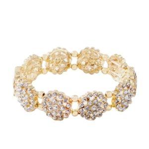 Prom  Wedding Gold Rhinestone Stretch  Bracelet